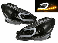 C-CLASS W204 2012-2014 FACELIFT LED U-Bar Headlight Black for Mercedes-Benz RHD