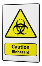 Tin Sign Warning Sign Caution Biohazard symbol in black and yellow triangle comi