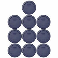 Pyrex 7202-PC 1 Cup Round Plastic Dark Blue Storage Lids 10PK for Glass Bowl New