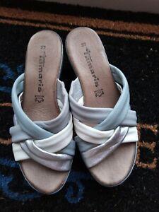Tamaris Grey Silver & White Leather Wedge Mule Size Euro 37 UK 4