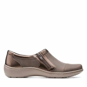 Clarks Womens Cora Giny Brown Leather Casual Flat Shoes