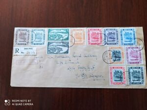 1949 Brunei Registered Airmail Cover To SINGAPORE FANTASTIC MULTICOLORED (RO8346