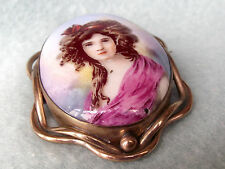 * OLD * PORTRAIT of a LADY * LARGE BROOCH PIN * ? PINCHBECK / ROLLED GOLD ?