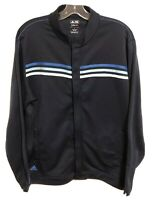 Adidas Golf Climalite Men's Large Blue Performance Track Jacket Three Stripes