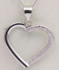 Collares y colgantes de joyería de oro blanco de 9 quilates, amor y corazones