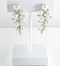 USA Pearl Earring Rhinestone Crystal Dangle Drop Wedding Elegant Silver Long E05