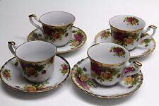 Arpo Curtea de Arges Roses Porcelain Cup & Saucer Set of Four Romania Vintage