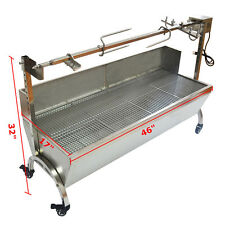 "Large Stainless Steel BBQ Spit Roaster Rotisserie 46"" Cooking Pig Lamb Chicken"