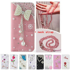 Bling Diamonds wallet stand leather Phone Covers Cases & Crystals strap For LG L