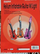 """GUITAR ROCK AND ROLL   1- ORANGE  30""""  FOIL  BALLOON BIRTHDAY  PARTY SUPPLIES"""