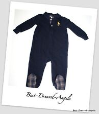 RALPH LAUREN Navy Blue Romper Outfit Big Horse Logo Baby Boy Size 6 Months MINT