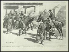 GRAVURE PUNEROT MANOEUVRES  MILITAIRES MILITARIA 1895