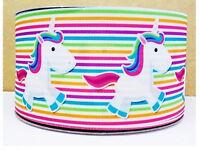 "UNICORN STRIPE grosgrain ribbon 7/8"" 22mm cake / craft Free P & P"