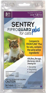 SENTRY Fiproguard Plus for Cats- 3 Doses! For cats over 1.5 lbs