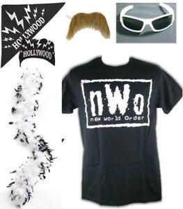 nWo Hollywood Hulk Hogan Costume T-shirt Bandana Sunglasses Moustache Boa