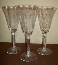 """Three Tiffin FLANDERS POPPY Clear Goblets 8 1/4"""" Lot A"""