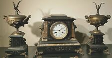 Antique J E Caldwell French Mantel Clock Set w/ Urns Marble Bronze 19th C EXLNT!