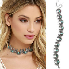 Metal Moon Turquoise Silver Choker Collar Chain Necklace Jewelry Accessory UK