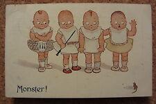 MONSTER! - Children & mouse - vintage 1913 comic postcard - Celesque Series