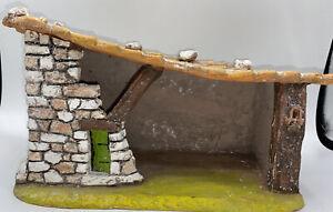 Santon Etable Terre cuite 28,5 cm de long creche ancienne