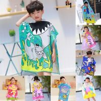 Unisex Kids Cotton Poncho with Hat Swim Beach Bath Towel Bathrobe Washcloth