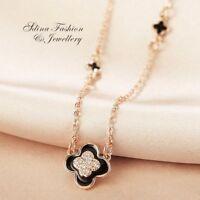 18K Rose Gold Filled Simulated Agate & Diamond Black 4 Leaf Clover Necklace