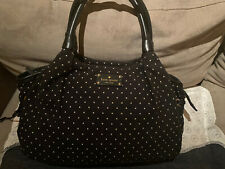 Kate Spade Polka Dot Cotton Bag Leather Handles Great Condition