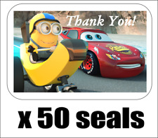 "50 Disney Cars and Minion Thank You Seals / Labels / Stickers, 1"" by 1.5"""
