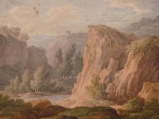 Aquarelle école italienne Paysage de montagne Dessin ancien XVIII/XIX ème siècle