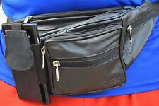 New Black Pure Leather Fanny Pack Waist bag Adjustable Travel Pouch Cell Phone