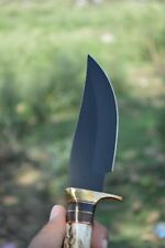 Custom Handmade D2 Steel Amazing Black Coated Bowie Knife with Stag Horn Handle