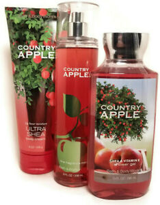 Set 3 Bath Body Works Country Apple Fragrance Mist Body Cream Shower Gel Woman