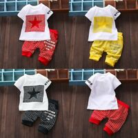 2PCS Toddler Kids Boys Girl Summer Blouse T-Shirt Tops Shorts Pants Outfits Set