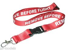 Red and White Aviation 'Remove Before Flight' Lanyard 53cm - ID Badge Holder