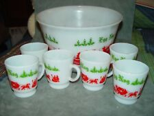 Depression Milk Glass Egg Nog Punch Bowl Set 6 Cups/Mugs Home for Christmas