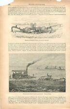 Charrue à Vapeur Sutherland à Défricher Machine Agricole GRAVURE OLD PRINT 1879