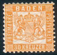 Baden Mi.-Nr.22a * noch mit orig. Gummi (MICHEL € 180,00) pracht