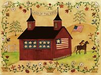 OrIgInAl FoLk ARTWaTeRCoLoR PaInTiNg ReD BaRn AmErIcAn FlAg HoRsE StAr FlOwErs