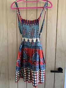 band of gypsies Boho red green Floral Mini pinafore Dress size XS cotton paisley