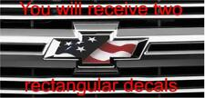 American USA Flag Chevy OVERLAY Decals Stickers for Bowtie Emblem- 2 U CUT