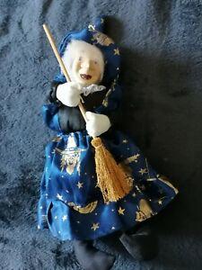 Deko Hexe blau porzellan Hänger 30 cm Halloween witch Dekoration
