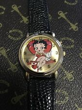 Wrist Watch Betty Boop Musical Ladies Quarts Gold Pl 1990's N.O.S. WORKING, MINT