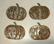 "Lot of 4 Pumpkin Shapes 3"" Rusty Metal Holiday Vintage Ornament Craft Sign"