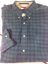 Vtg Tommy Hilfiger Men's XL Gingham Plaid Button Down Shirt Crest Blue Green
