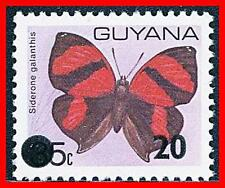 GUYANA = BUTTERFLIES / INSECTS 20c O/PRINT on 35c  VF MNH RARE