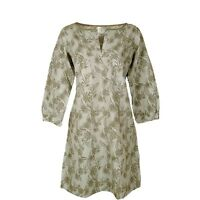 White Stuff Taupe Leaf Print Cotton Tunic Dress 3/4 Length Sleeves