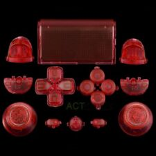 Clear Red Full Set Buttons Thumbstick Repair Part for Dualshock 4 PS4 Controller