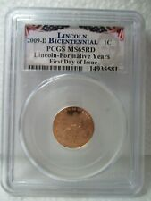 2009-D Bicentennial 1C PCGS MS65RD Lincoln-Formative Years First Day of Issue #1