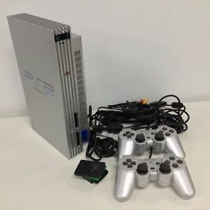 Silver PS2 Playstation 2 & Controllers #454