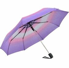 Cool Rainy Printed Colorful Horizontal Stripes 3 Folds Automatic Umbrella Violet